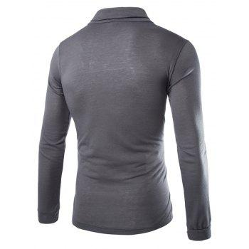 Slimming Turndown Collar Stylish Solid Color Button Design Long Sleeve Polyester Men's T-Shirt - DEEP GRAY L