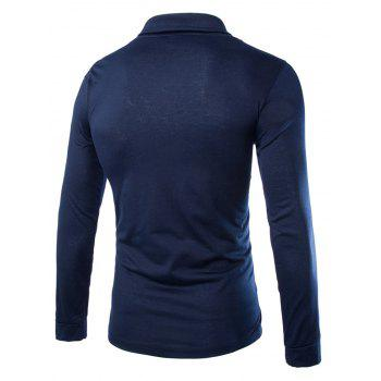 Slimming Turndown Collar Stylish Solid Color Button Design Long Sleeve Polyester Men's T-Shirt - CADETBLUE M