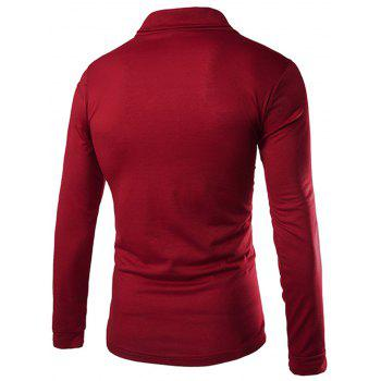 Slimming Turndown Collar Stylish Solid Color Button Design Long Sleeve Polyester Men's T-Shirt - RED M