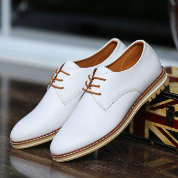 Trendy Lacing and PU Leather Design Men's Formal Shoes - WHITE 40