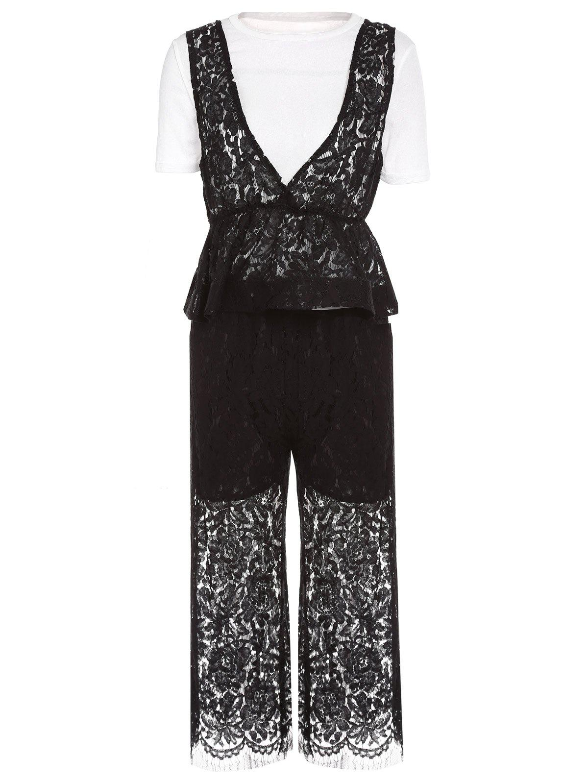 Elegant WhiteT-Shirt + Hollow Out Lace Tank Top + Loose-Fitting Pants Womens Three-Piece SuitWomen<br><br><br>Size: ONE SIZE(FIT SIZE XS TO M)<br>Color: WHITE AND BLACK