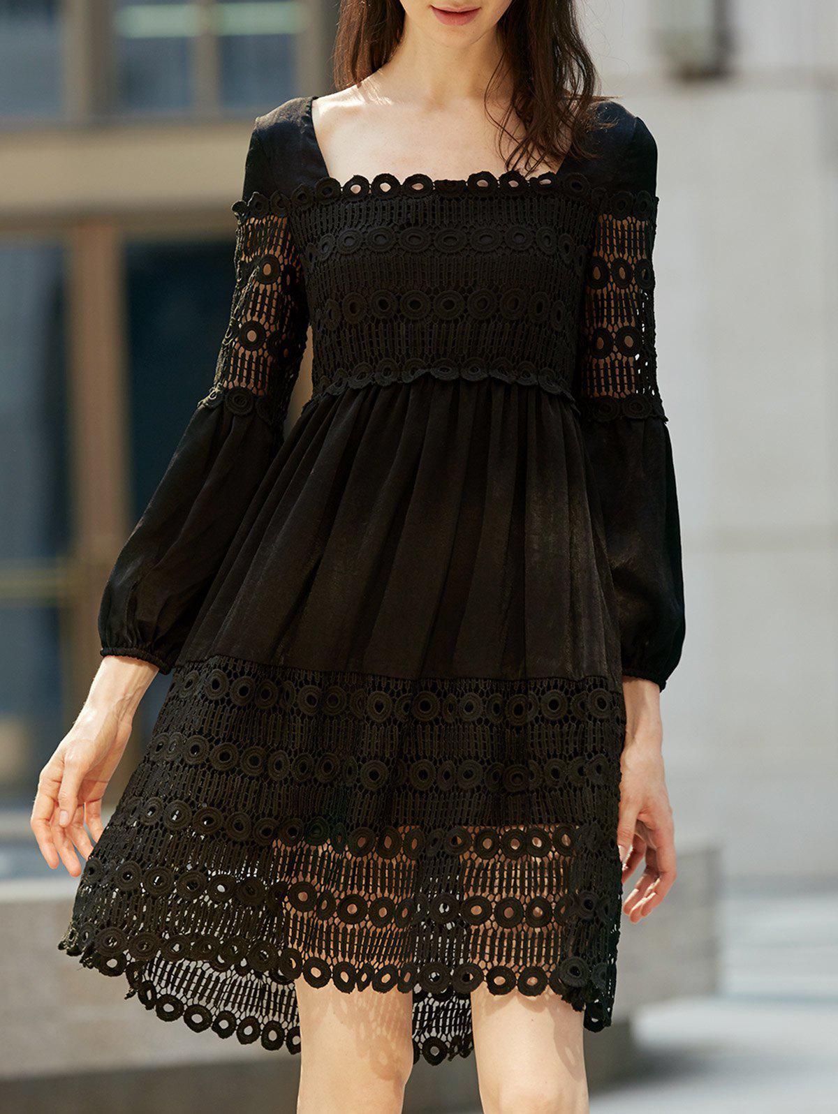 Stylish Square Neck Long Sleeve  Long Sleeve Lace Dress For Women - BLACK XL