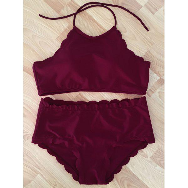 Trendy Wine Red High-Neck Scalloped Women's Bikini Set