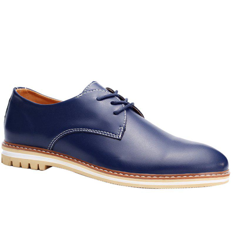 Trendy Lacing and PU Leather Design Men's Formal Shoes - BLUE 40