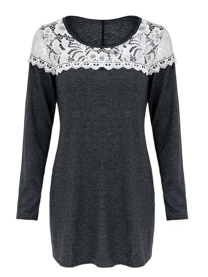 Casual Women's Scoop Neck Lace Patchwork Long Sleeves T-Shirt - GRAY XL