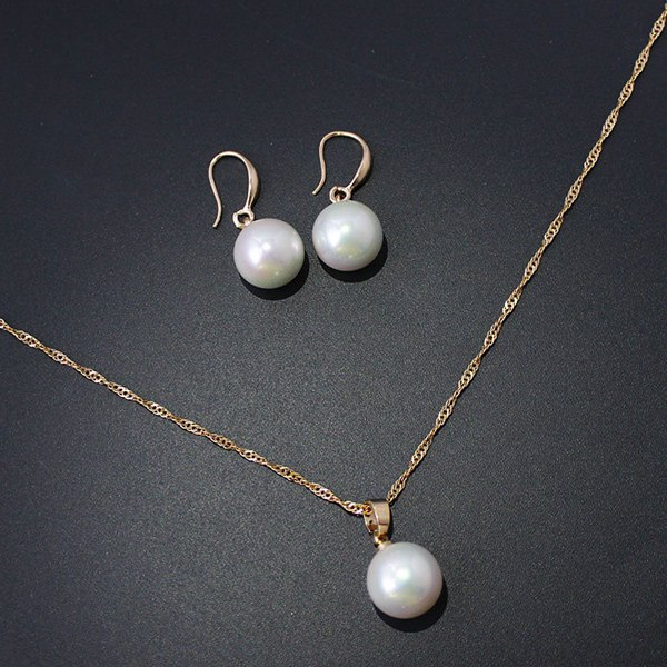 A Suit of Faux Pearl Twisted Singapore Chain Necklace and Earrings - GOLDEN