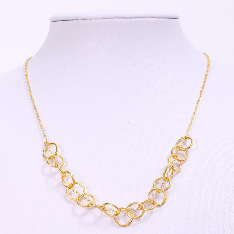 Simple Solid Color Hollow Out Round Women's Necklace - GOLDEN