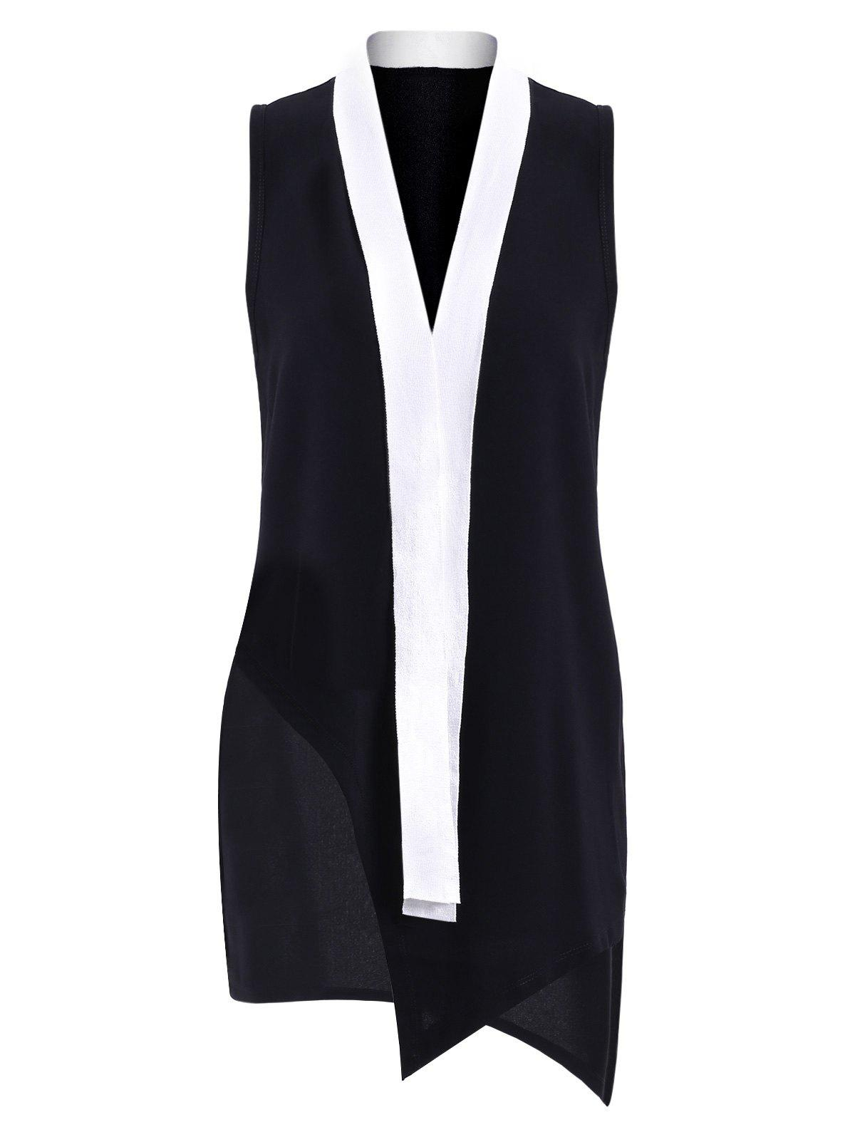 Simple Plunging Neck OL Style Sleeveless Color Block  Womens DressWomen<br><br><br>Size: ONE SIZE(FIT SIZE XS TO M)<br>Color: WHITE AND BLACK