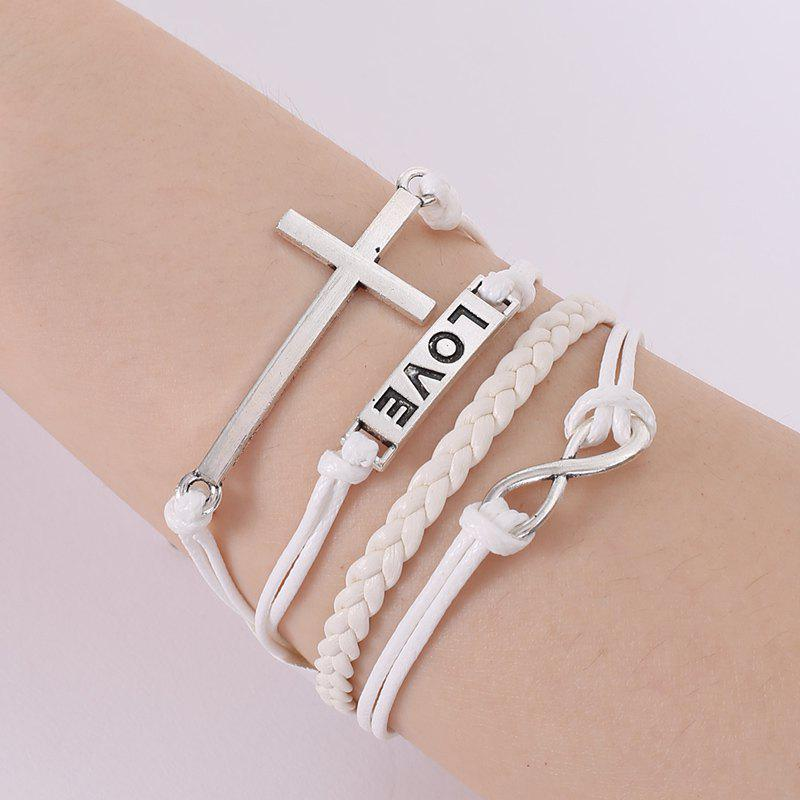 Chic Cross and Letter Embellished Multilayered Charm Bracelet For Women -  WHITE