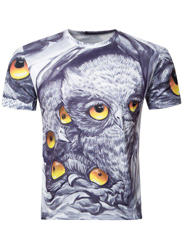 Casual Owl Printing Round Collar Short Sleeve Men's T-Shirt - COLORMIX 2XL