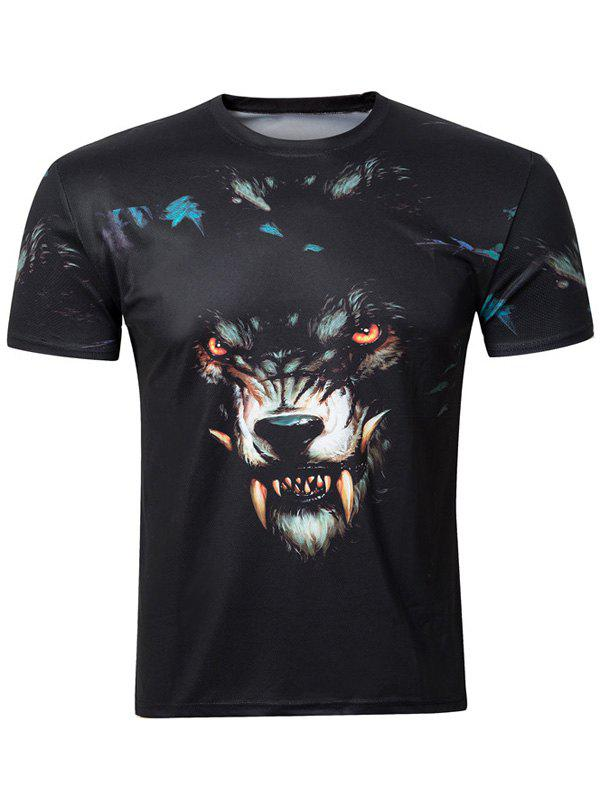 Casual 3D Wolf Printing Round Collar Short Sleeve Men's T-Shirt - BLACK 2XL