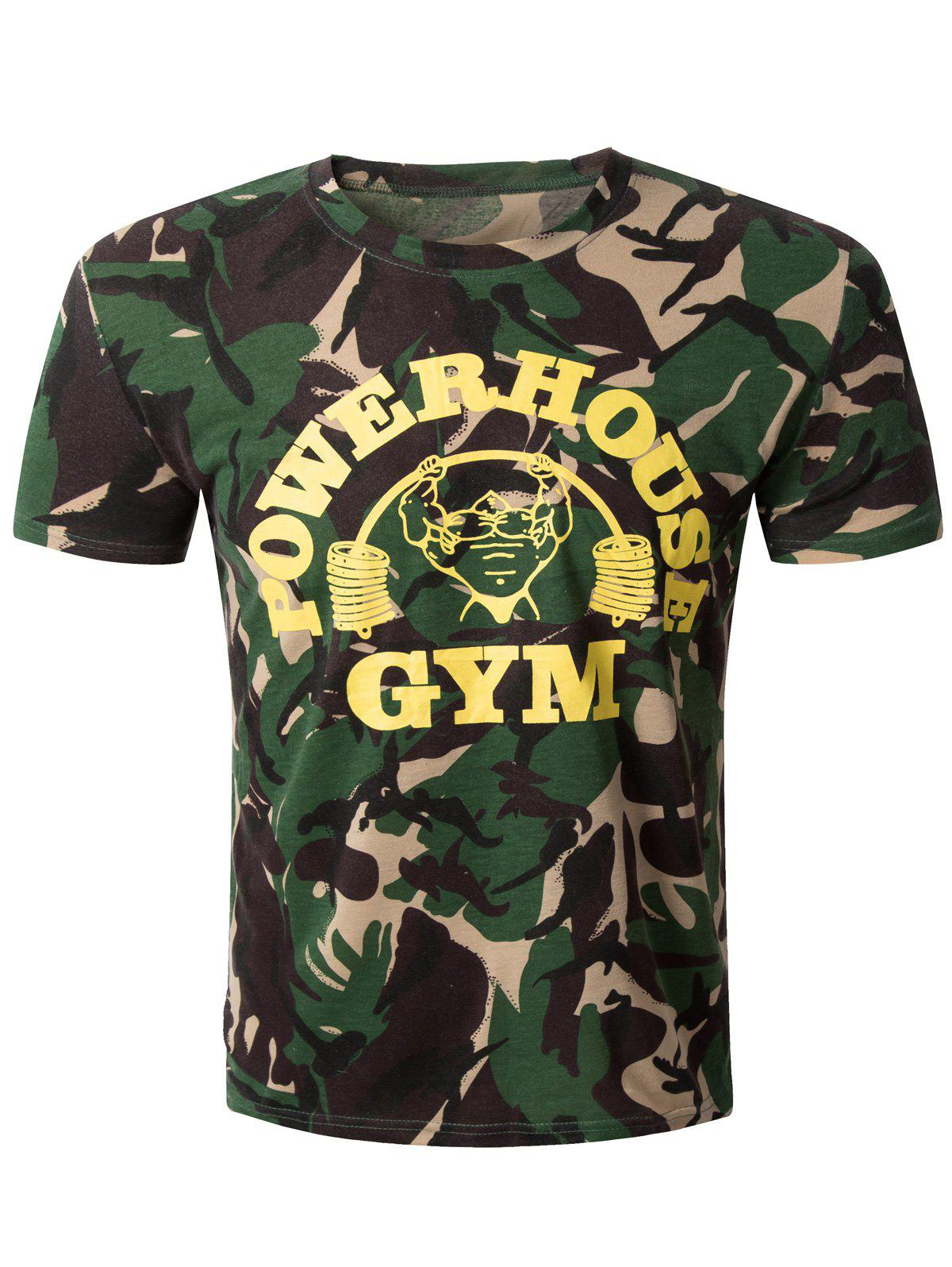 Casual Camo Round Collar Short Sleeve Men's T-Shirt - CAMOUFLAGE L