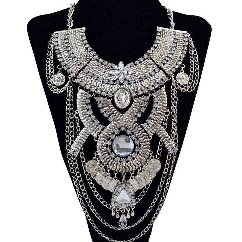 Vintage Faux Crystal Rhinestone Multilayer Chain Coin Geometric Necklace For Women