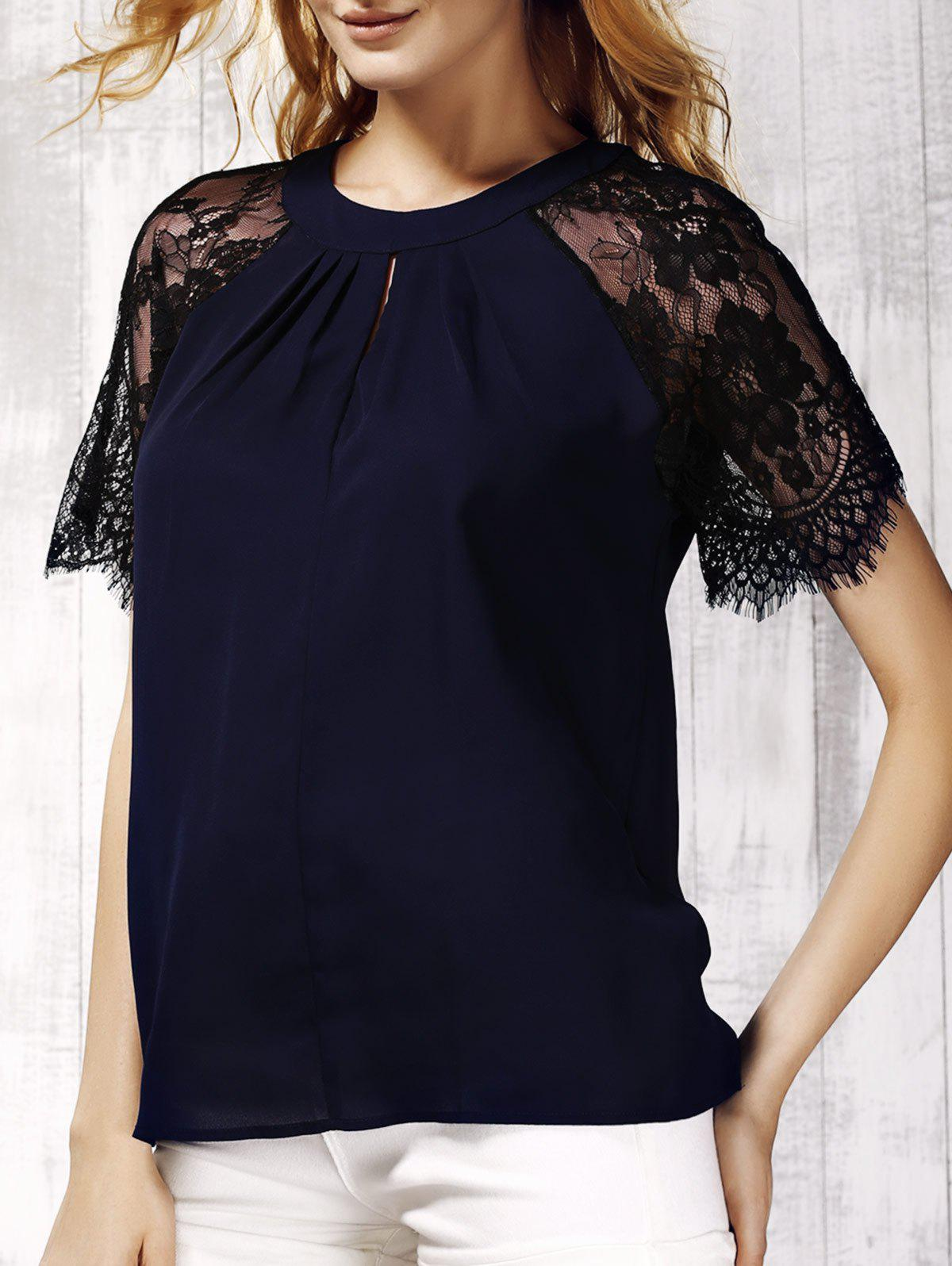 Trendy Lace Spliced Keyhole Neck Short Sleeve Blouse For Women - CADETBLUE L