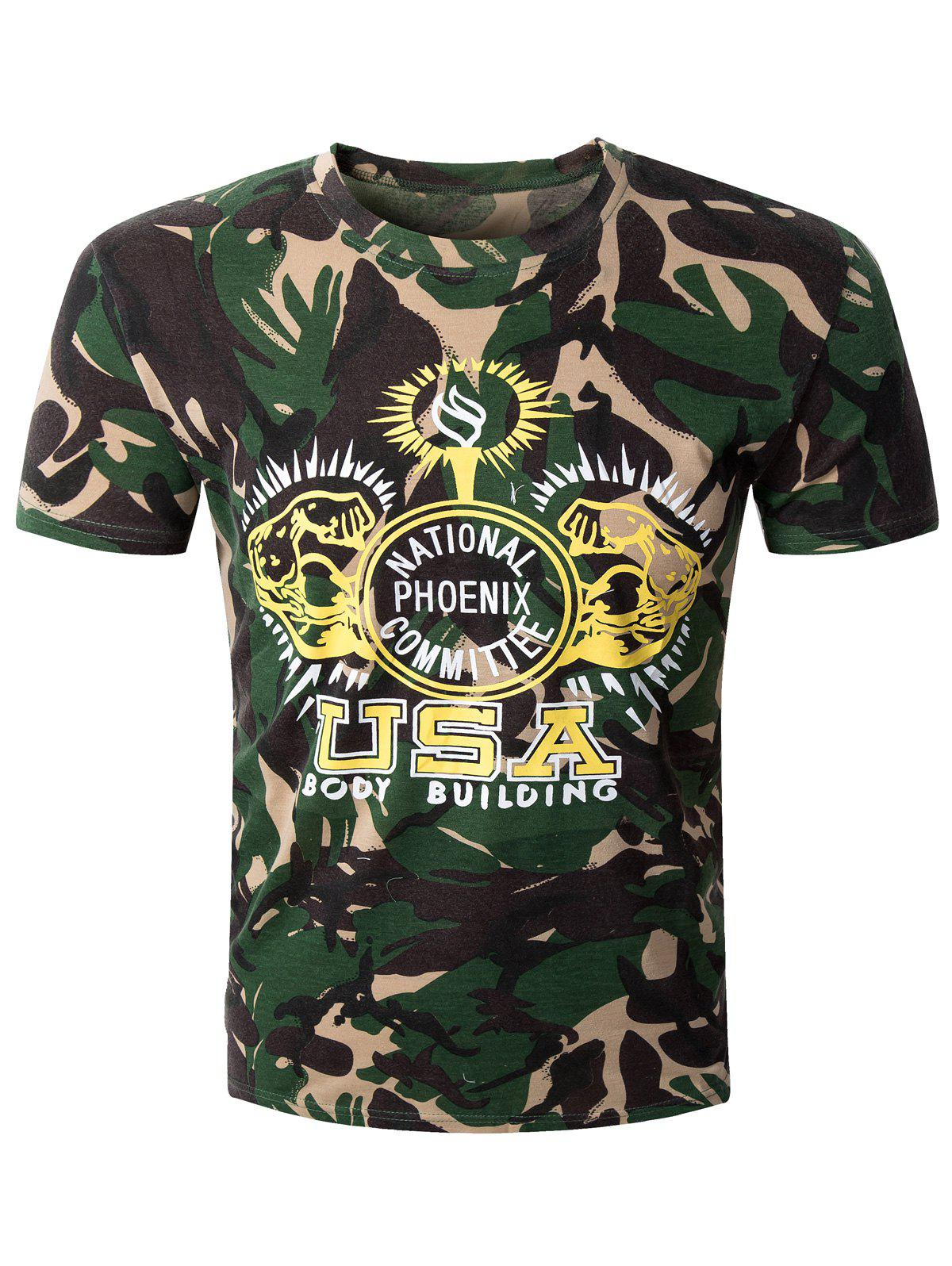 Fashion Camo Letter Printed Men's Round Collar Short Sleeve T-Shirt - CAMOUFLAGE 2XL