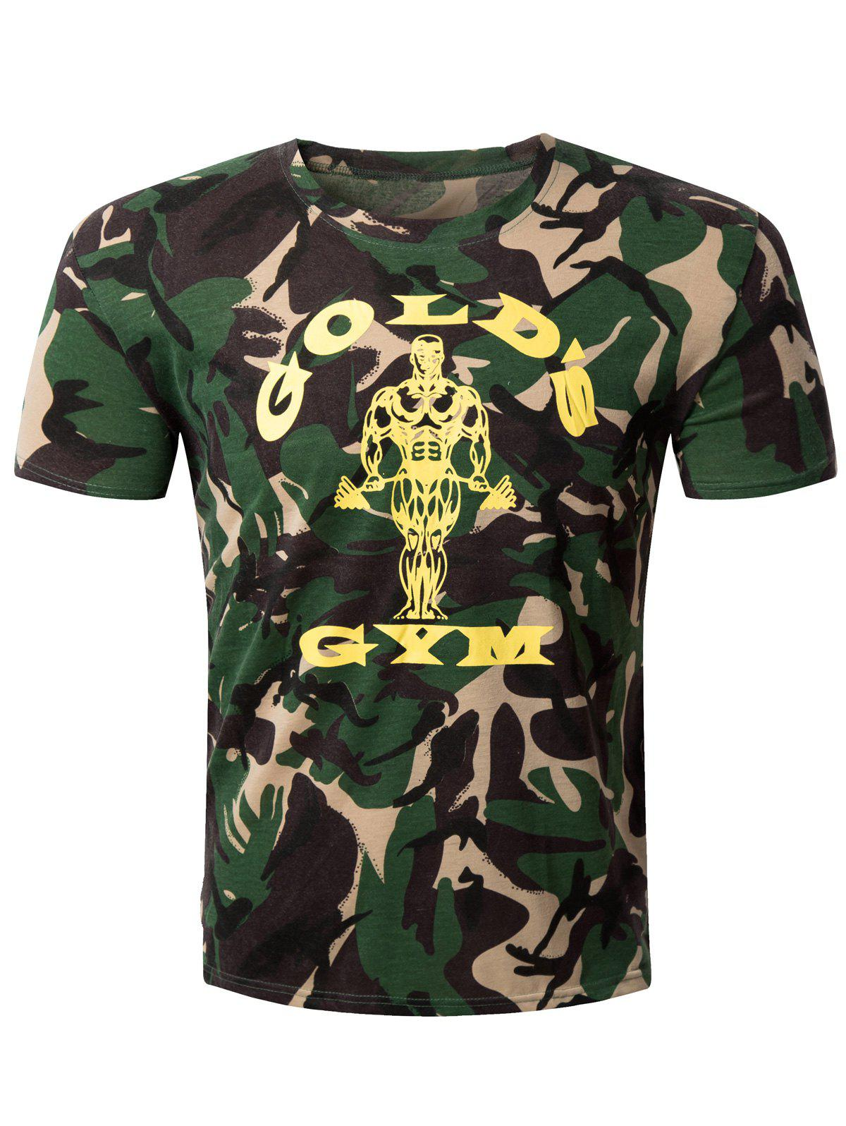 Casual Camo Letter Printed Round Collar Men's T-Shirt - CAMOUFLAGE L