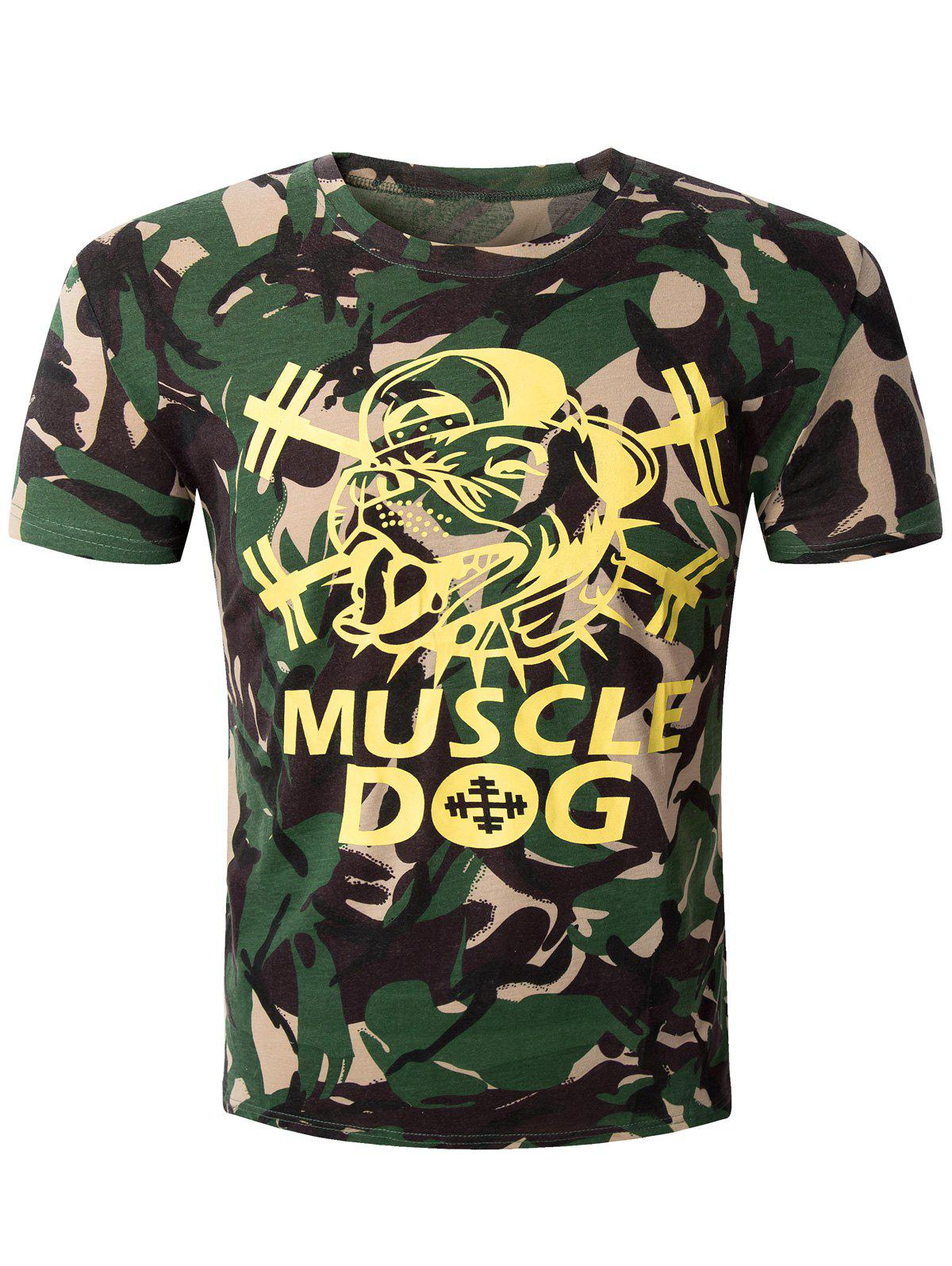 Casual Camo Printed Round Collar Men's T-Shirt - CAMOUFLAGE 2XL