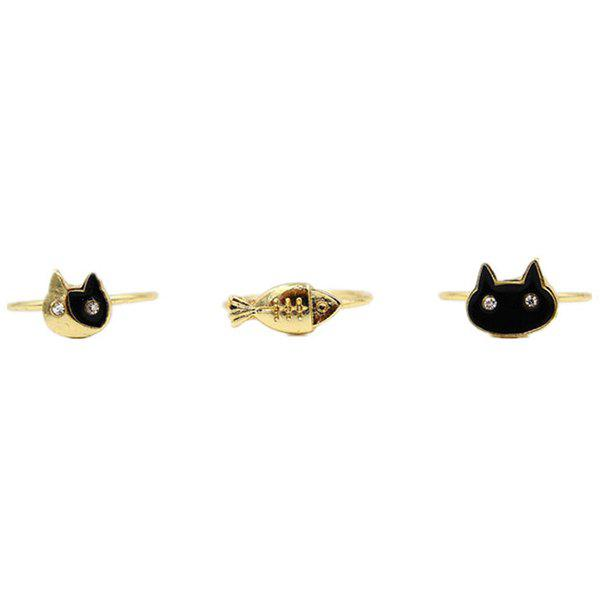 A Suit of Cute Rhinestone Fish Kitten Rings For Women