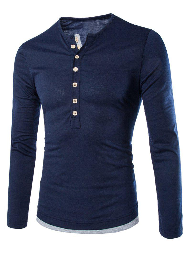 Slimming Round Neck Fashion Color Block Button Design Long Sleeve Polyester Men's T-Shirt