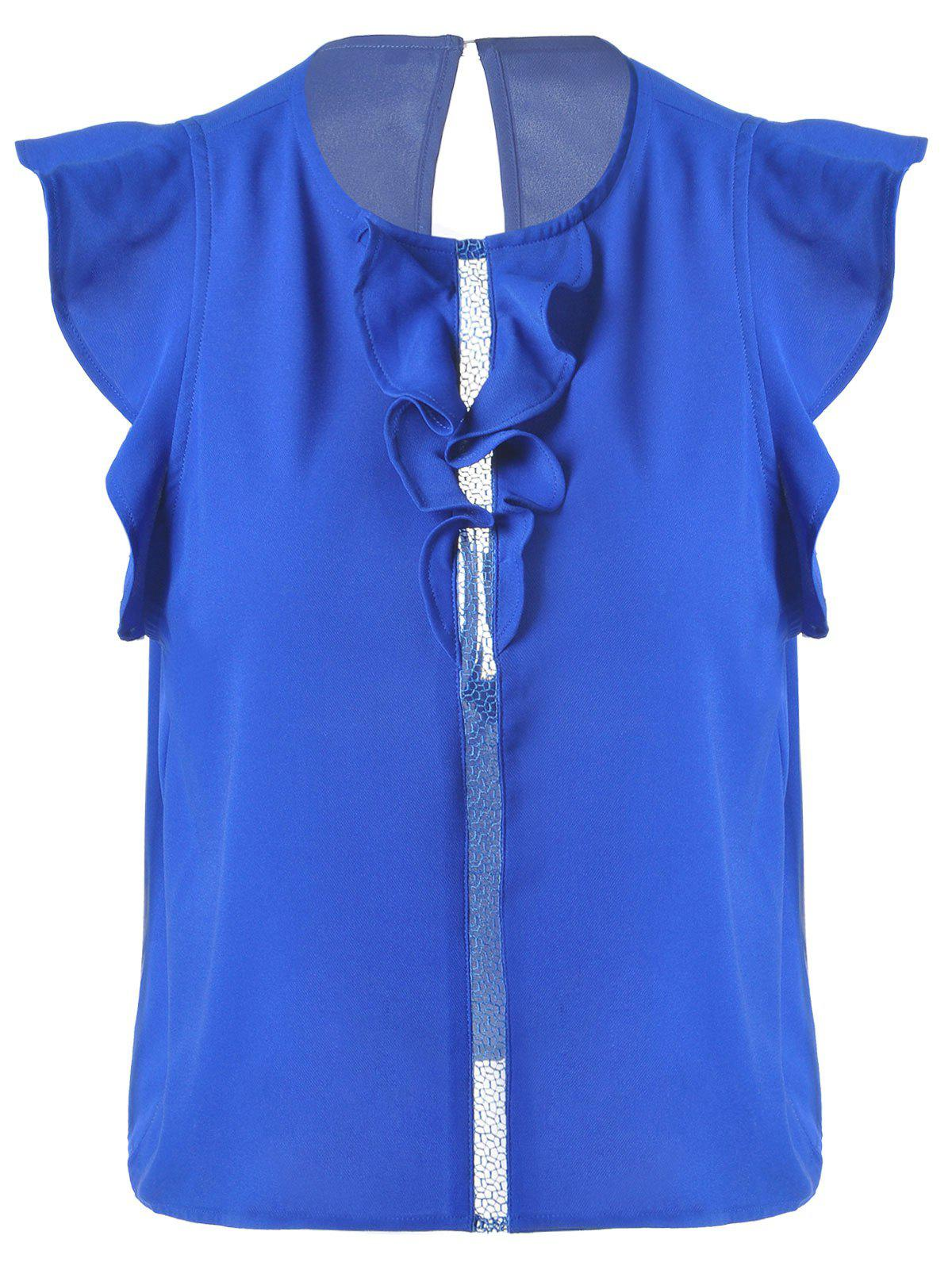 Sweet Women's Slimming Scoop Neck Flounce Blouse - SAPPHIRE BLUE L