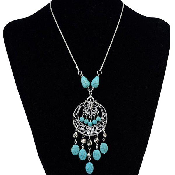 Bead Faux Turquoise Tassel Hollow Out Necklace - SILVER
