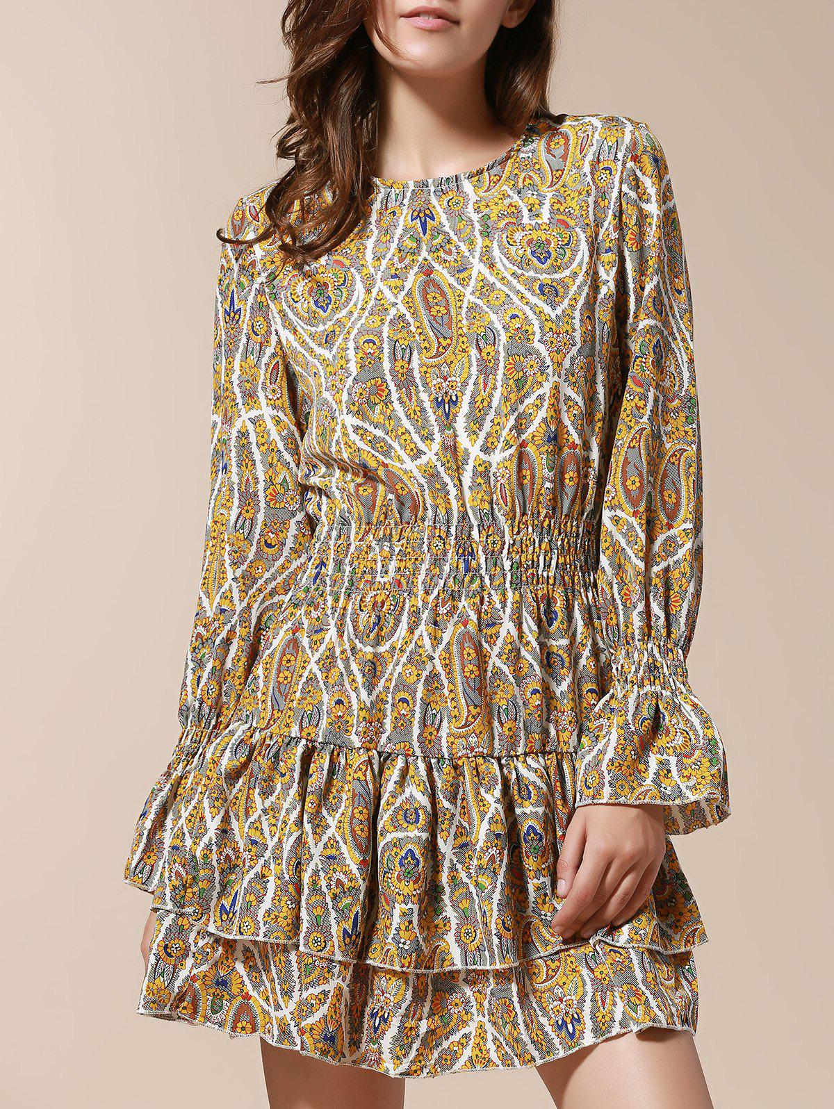 Floral Print Long Sleeve Scoop Neck Layered Hem Pullover Dress