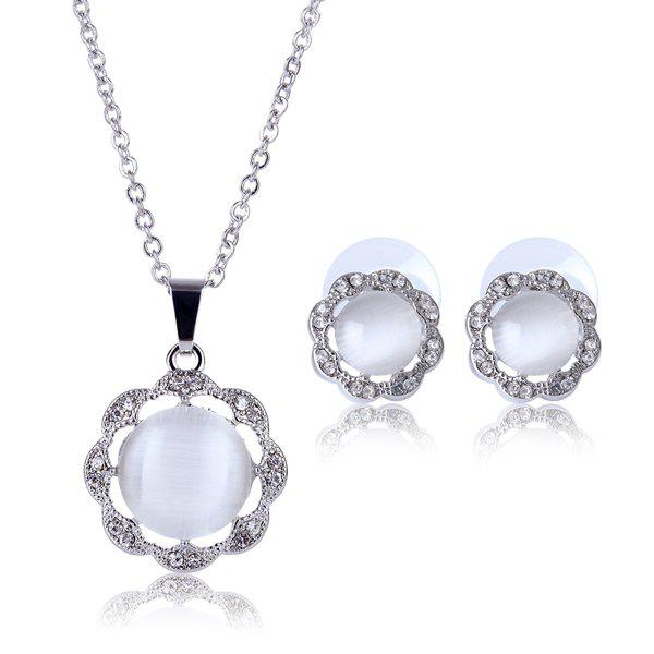 A Suit of Delicate Faux Gem White Gold Plating Alloy Flower Shape Necklace and Earrings For Women