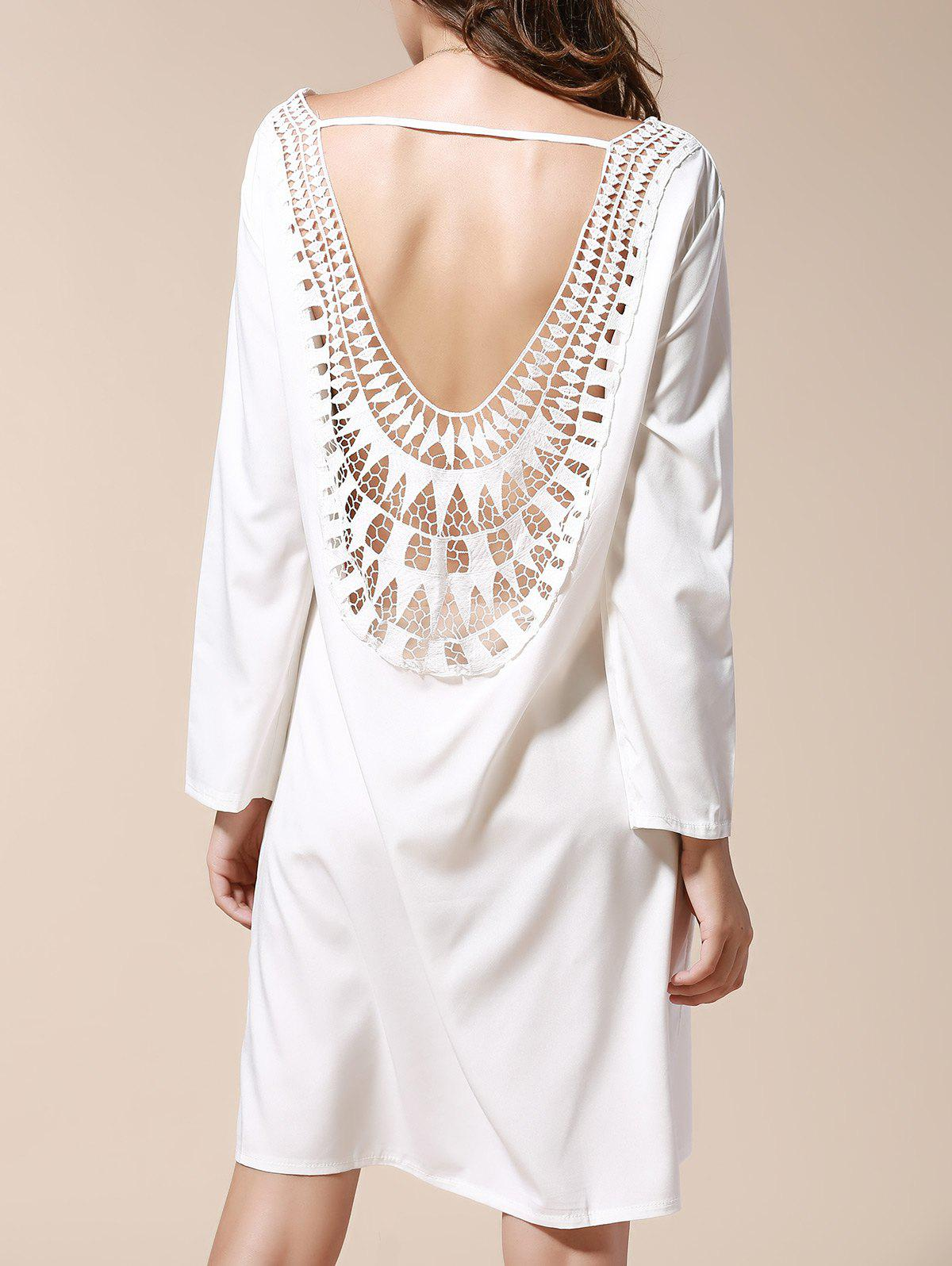 Sexy Scoop Neck Long Sleeve Hollow Out Backless Women's Dress - WHITE XL