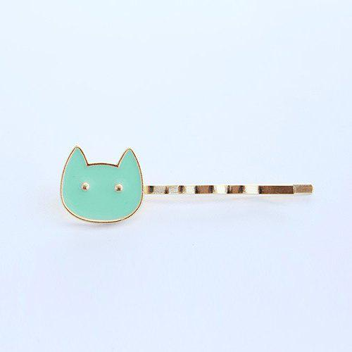 Cute Embellished Kitten Hairpin For Women - GREEN