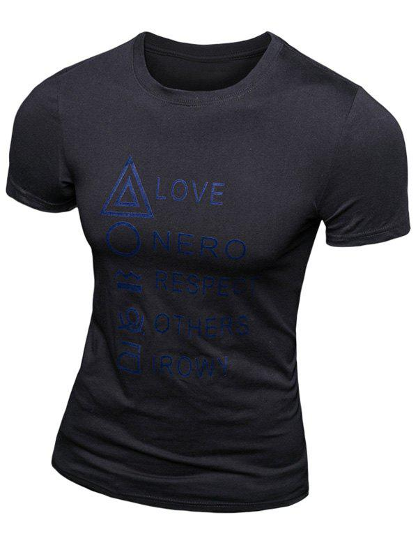 Casual Solid Color Letter Printed Short Sleeve Men's T-Shirt - BLACK 2XL