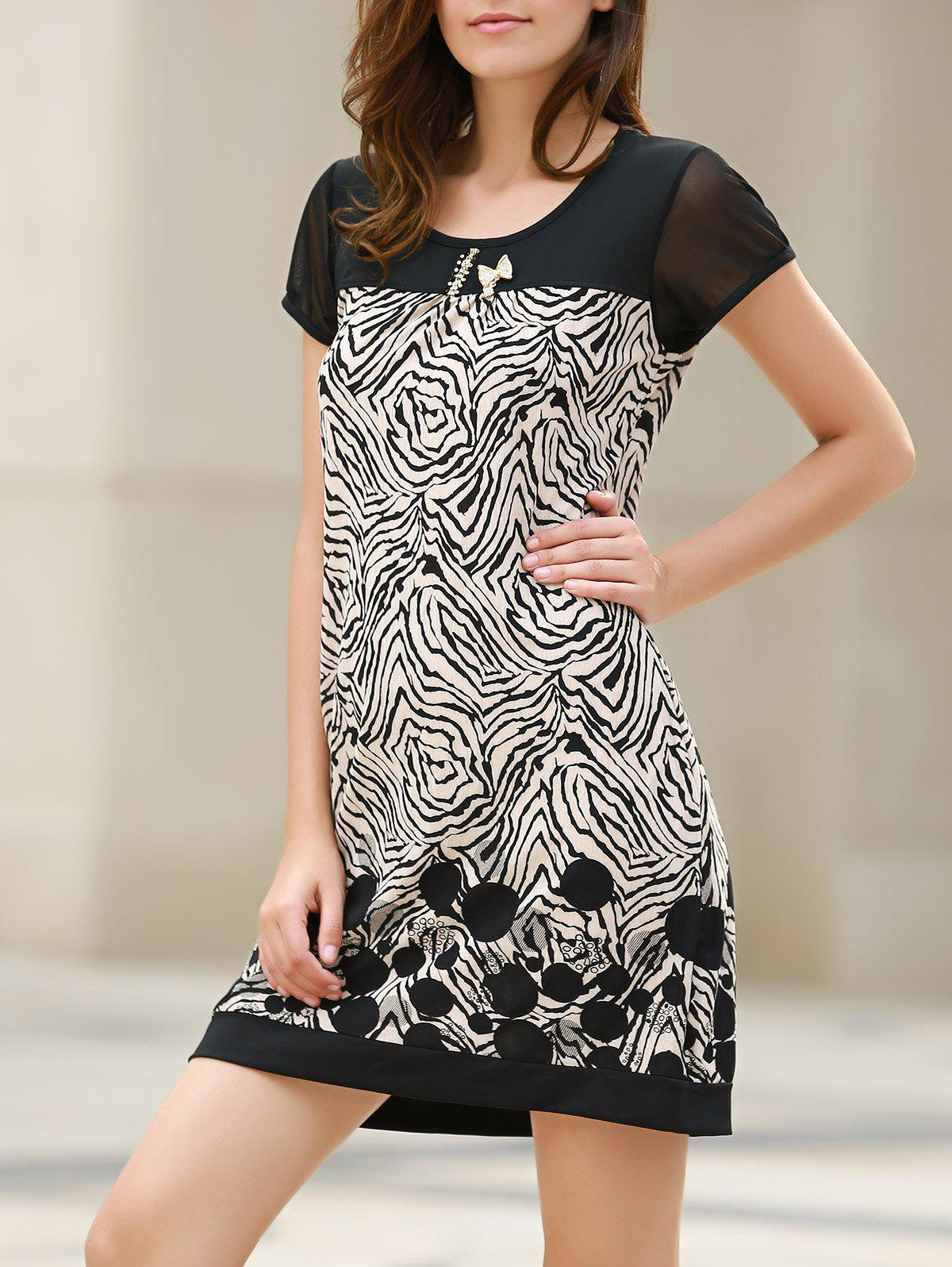 Stylish Short Sleeve Scoop Neck Spliced Loose-Fitting Printed Women's Dress -  WHITE/BLACK
