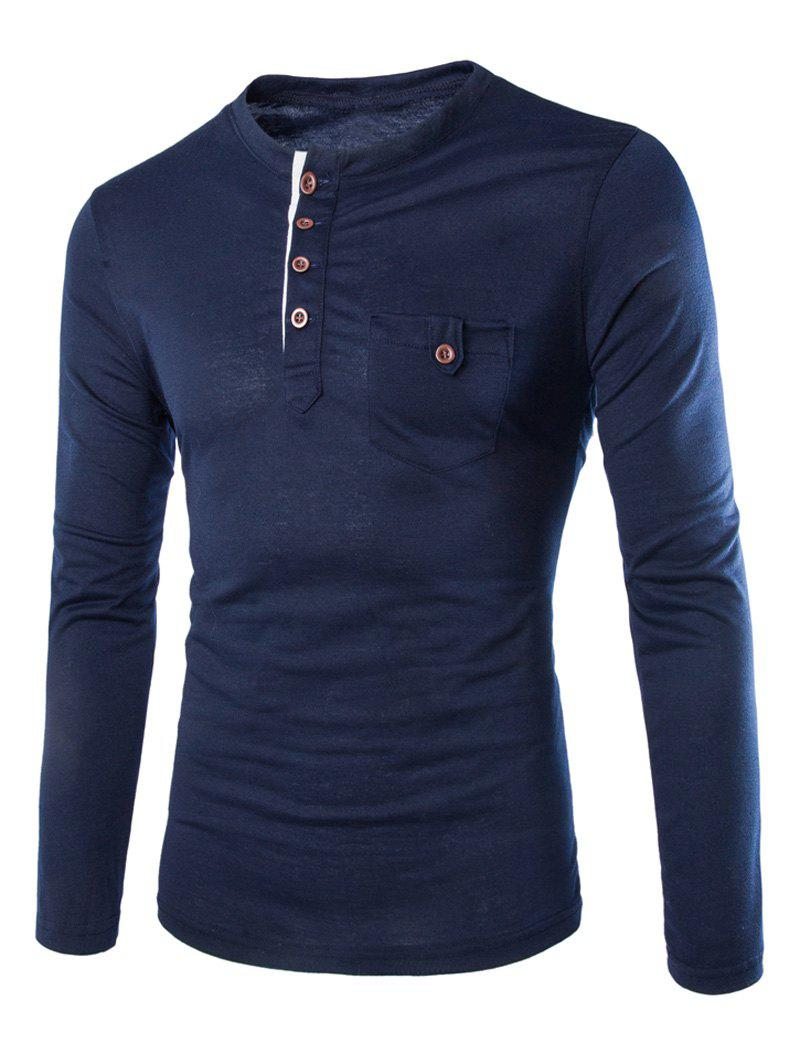 Slimming Round Neck Modish Contrast Color Placket Long Sleeve Polyester Men's T-Shirt - CADETBLUE M