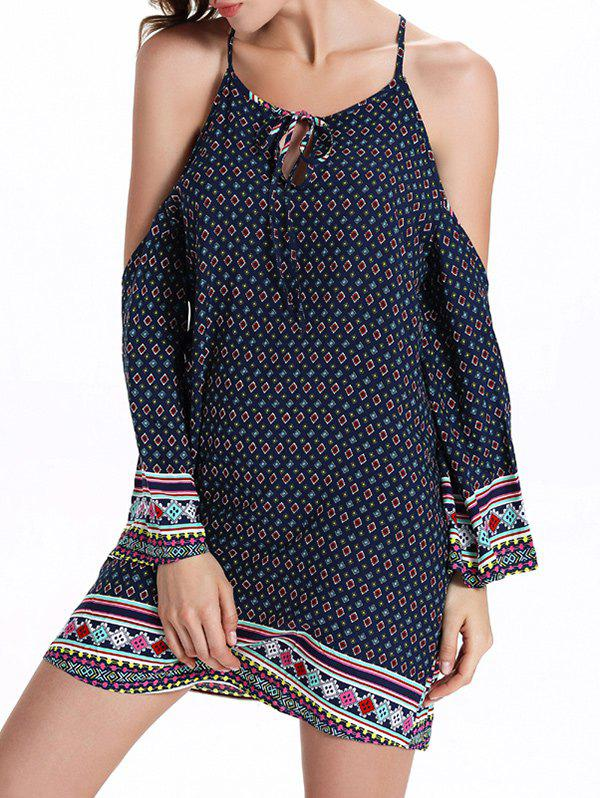 Bohemian Open Shoulder Keyhole Dress - PURPLISH BLUE 2XL