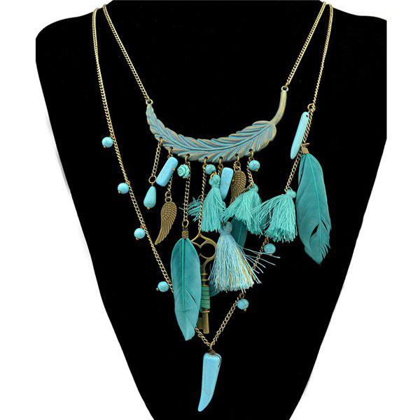 Vintage Faux Turquoise Multilayer Chain Key Feather Leaf Necklace For Women 10pcs access control rfid keyfobs 125khz proximity id token tag key keyfobs blue color for door access control system f1661a