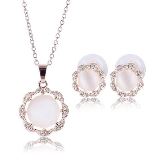 A Suit of Elegant Rhinestone Floral Shape Faux Gem Hollow Out Alloy Necklace and Earrings For Women -  ROSE GOLD