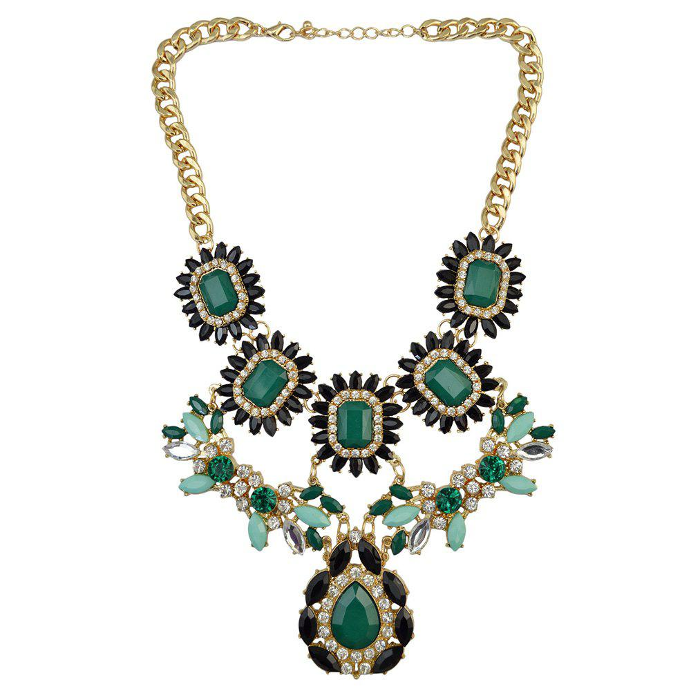 Faux Gem Rhinestone Leaf Petal Water Drop Necklace - GREEN