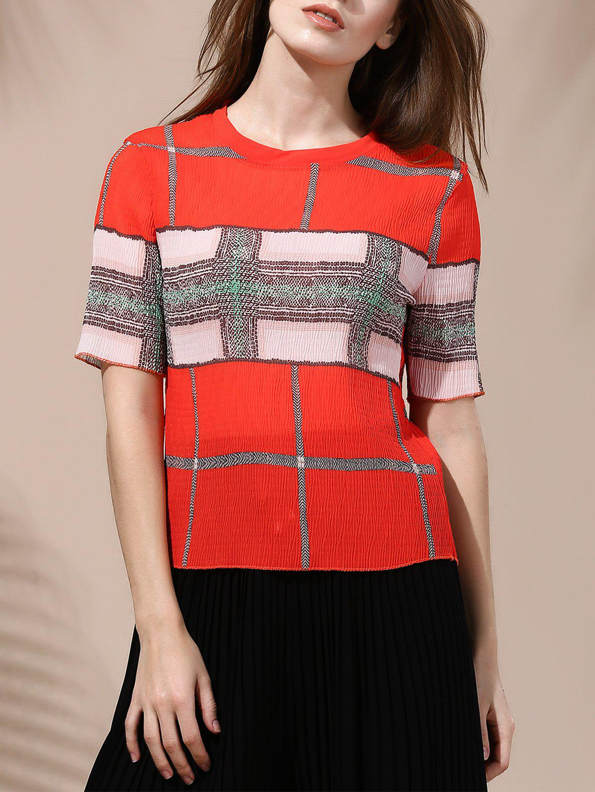 Stylish Hit Color Print Short Sleeve Jewel Neck T-Shirt For Women - JACINTH ONE SIZE(FIT SIZE XS TO M)