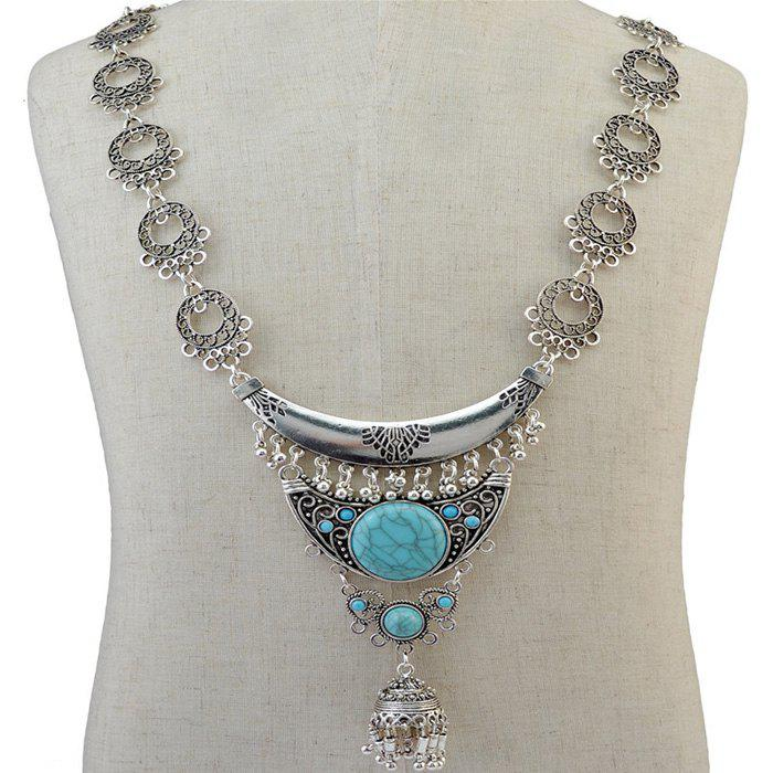 Vintage Faux Turquoise Moon Hollow Out Tassel Necklace For Women