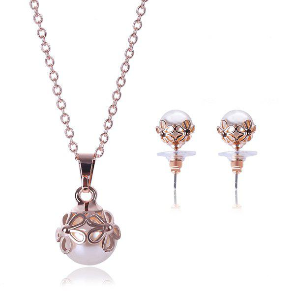 A Suit of Delicate Flower Shape Hollow Out Faux Pearl Necklace and Earrings For Women