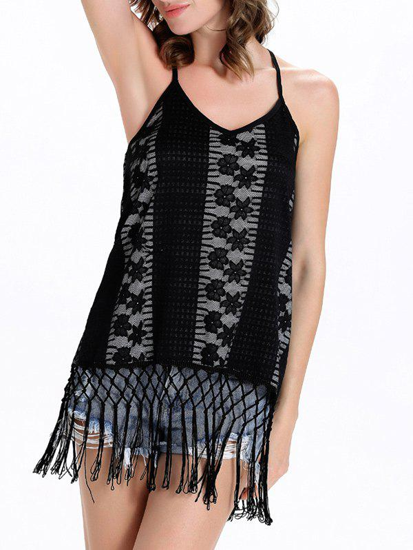 Backless Cutout Fringe Camisole Top - BLACK 2XL