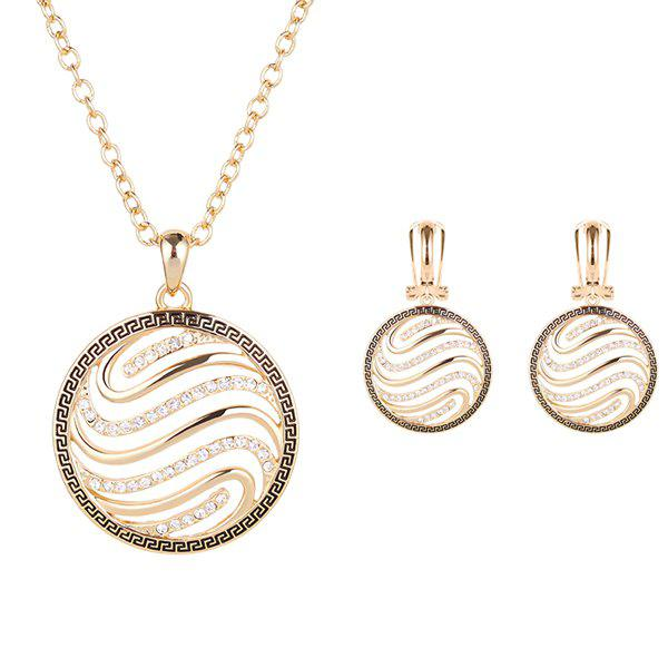 A Suit of Vortex Style Round Hollow Out Rhinestone Necklace and Earrings - GOLDEN