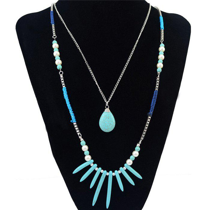 Multilayer Faux Turquoise Pearl Water Drop Necklace - BLUE