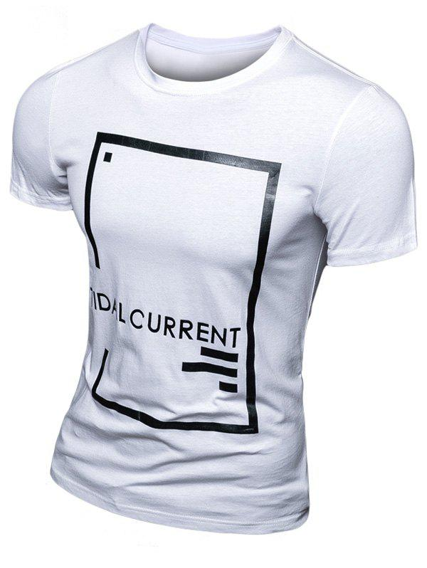 Casual Letter Printed Short Sleeve Men's T-Shirt - WHITE 3XL