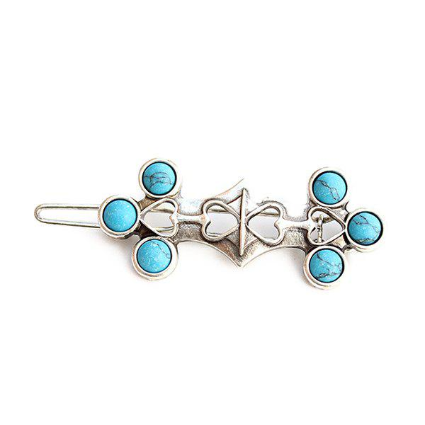 Chic Faux Turquoise Heart Hairpin For Women - SILVER