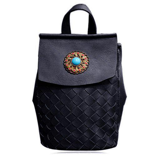 Trendy Beading and Weaving Design Women's Backpack - BLACK