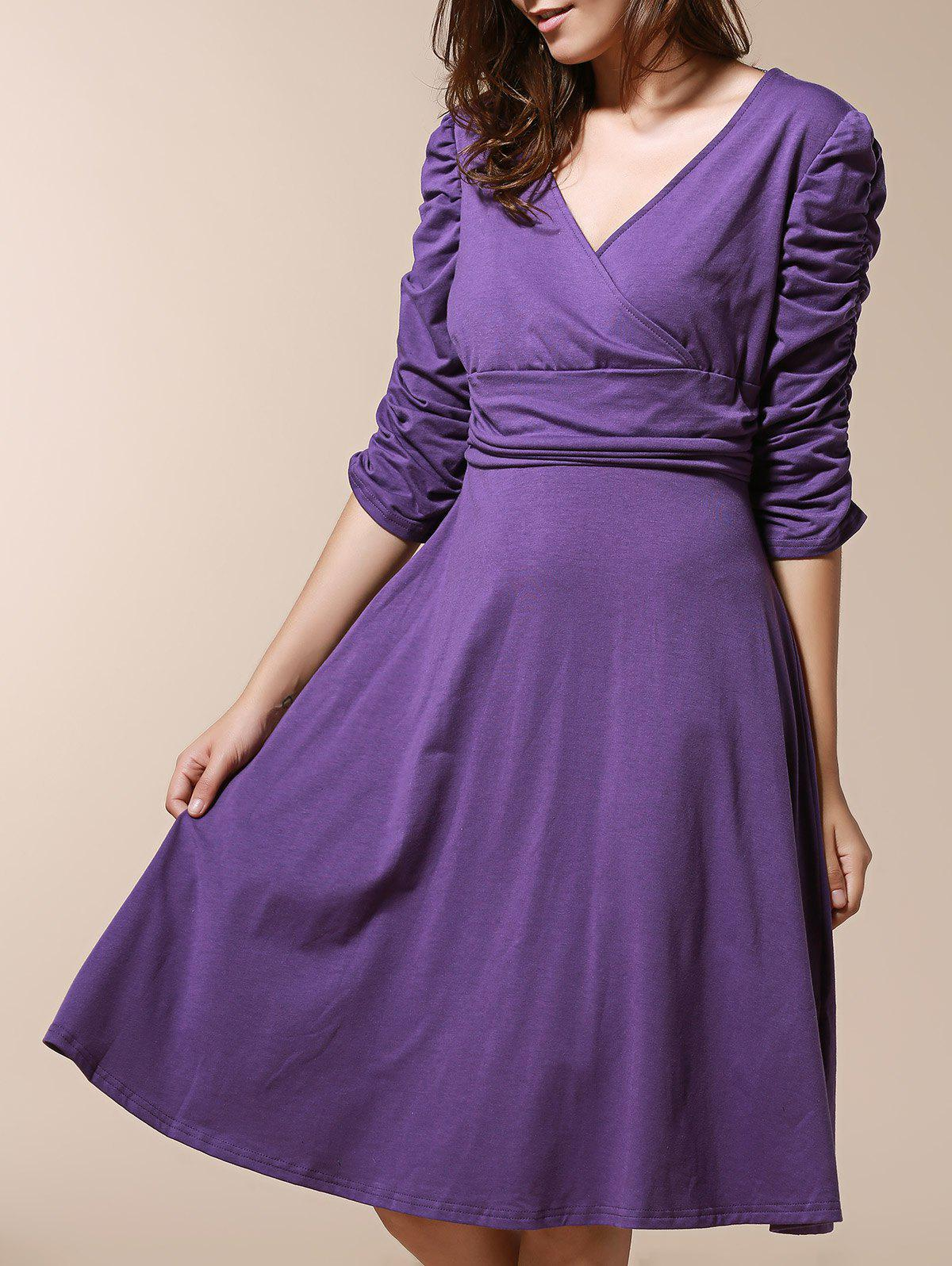 Chic 3/4 Sleeve Plunging Neck Pleated Pure Color Slimming Womens DressWomen<br><br><br>Size: M<br>Color: PURPLE