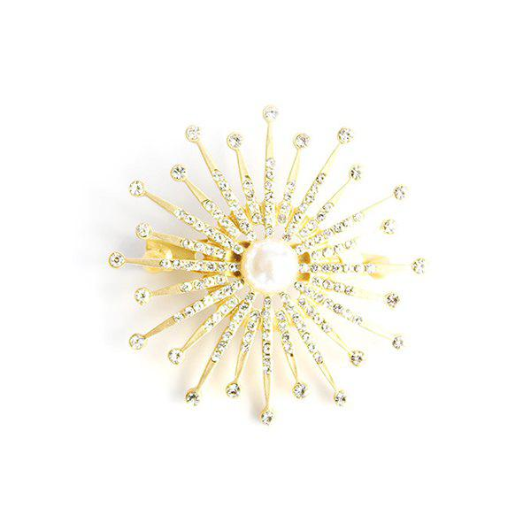 Faux Pearl Rhinestone Floral Brooch - GOLDEN