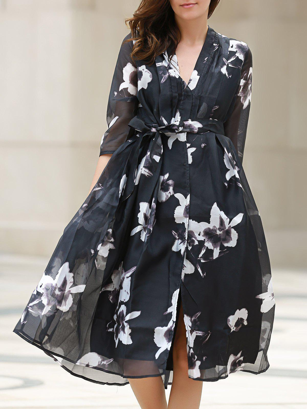 V-Neck 3/4 Sleeve Floral Print Belted Dress For Women - BLACK S
