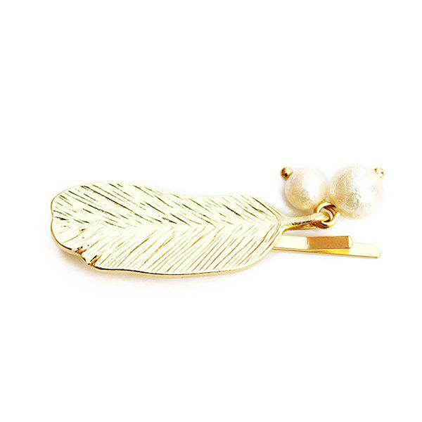Chic Faux Pearl Feather Hairpin For Women - GOLDEN