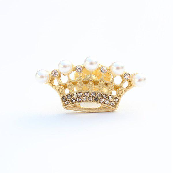 Chic Rhinestoned Crown Brooch For Women - GOLDEN